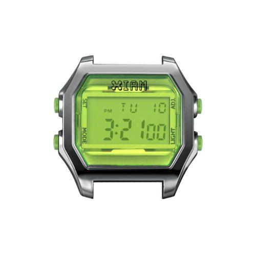 Orologio Digitale Iam IAM-103. Orologio con cassa large in policarbonato effetto metallo di colore grigio con display e pulsanti laterali di colore verde.