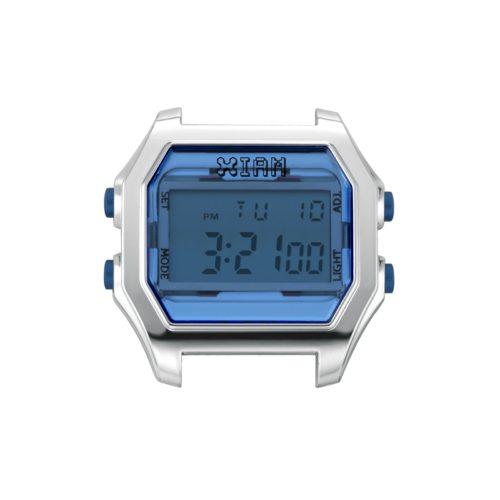 Orologio Digitale Iam IAM-105. Orologio con cassa large in policarbonato di colore argento con display e pulsanti laterali di colore blu scuro.