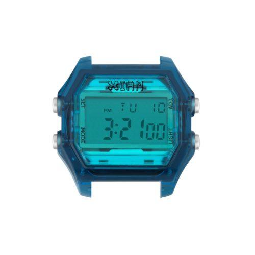 Orologio Digitale Iam IAM-107. Orologio con cassa large in policarbonato effetto trasparente di colore blu con display azzurro e pulsanti laterali grigio chiaro.