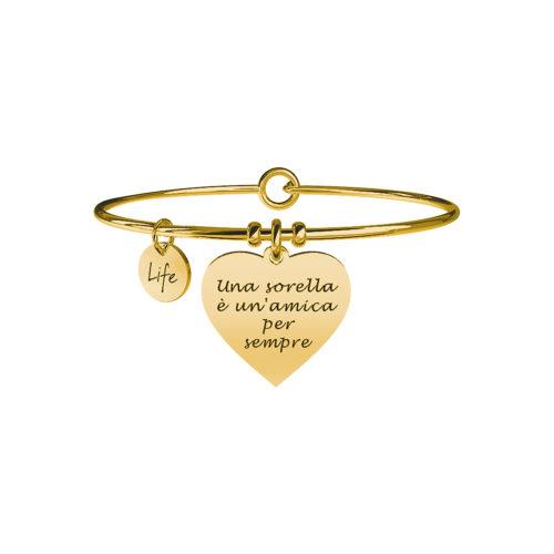 """Una sorella è una amica per sempre Bracciale Kidult donna 731651 della collezione Life Collection. Bracciale realizzato in acciaio inossidabile gold pvd con pendente a forma di cuore e frase incisa:""""Una sorella è una amica per sempre'' Categoria: Love"""