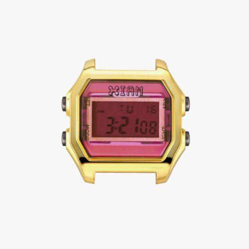 Orologio Digitale Iam IAM-020. Orologio con cassa medium in policarbonato di colore oro con display fucsia.