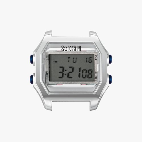 Orologio Digitale Iam IAM-121. Orologio con cassa large in policarbonato effetto trasparente di colore grigio chiaro con pulsanti laterali blu.