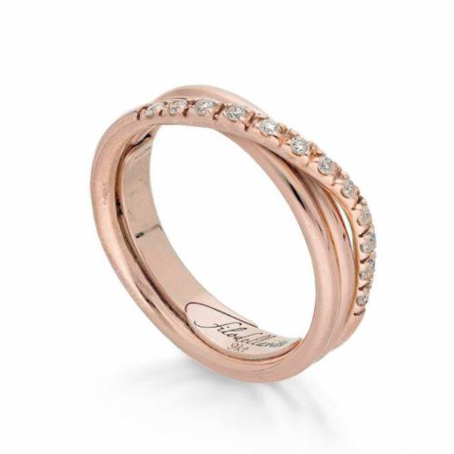 Anello Filodellavita AN8RBT. Anello della collezione Classic, 3 fili in oro rosa 9kt e 12 diamanti bianchi 0.21ct.