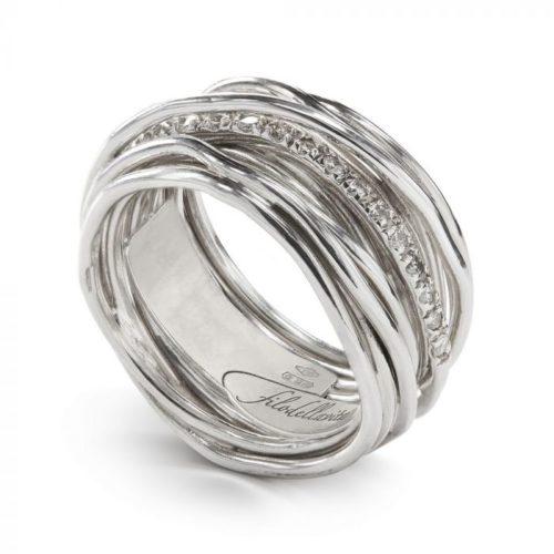 Anello Filodellavita AN13ABT. Anello della collezione Classic, 13 fili in argento 925 arricchito con Palladio o Platino e 16 diamanti bianchi 0.21ct.