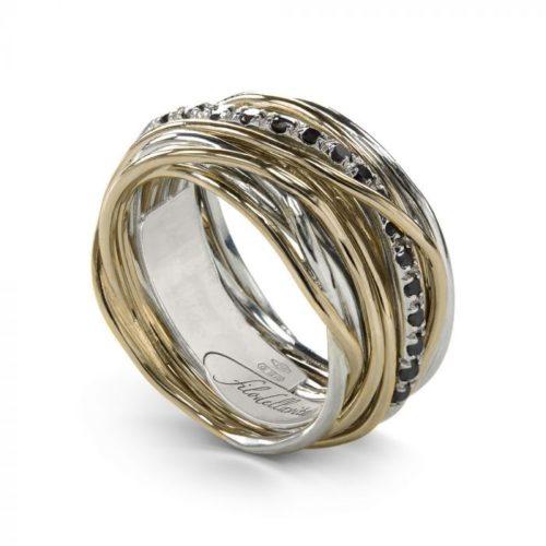 Anello Filodellavita AN13AGBN. Anello della collezione Classic, 13 fili in oro giallo 9kt, argento 925 arricchito con Palladio o Platino e 16 diamanti black 0.18ct.