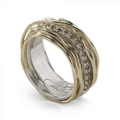 Anello Filodellavita AN13AGBR. Anello della collezione Classic, 13 fili in oro giallo 9kt, argento 925 arricchito con Palladio o Platino e 16 diamanti brown 0.18ct. Disponibile
