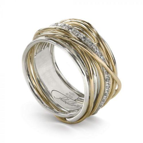 Anello Filodellavita AN13AGBT. Anello della collezione Classic, 13 fili in oro giallo 9kt, argento 925 arricchito con Palladio o Platino e 16 diamanti bianchi 0.18ct.