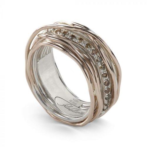 Anello Filodellavita AN13ARBR. Anello della collezione Classic, 13 fili in oro rosa 9kt, argento 925 arricchito con Palladio o Platino e 16 diamanti brown 0.21ct.