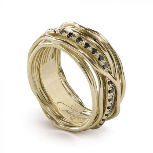 Anello Filodellavita AN13GBN. Anello della collezione Classic, 13 fili in oro giallo 9kt e 16 diamanti black 0.18ct.