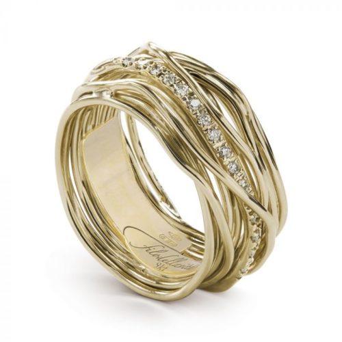 Anello Filodellavita AN13GBT. Anello della collezione Classic, 13 fili in oro giallo 9kt e 16 diamanti bianchi 0.18ct.