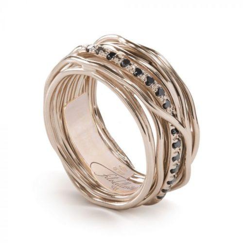 Anello Filodellavita AN13RBN. Anello della collezione Classic, 13 fili in oro rosa 9kt e 16 diamanti black 0.18ct.