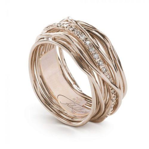 Anello Filodellavita AN13RBT. Anello della collezione Classic, 13 fili in oro rosa 9kt e 16 diamanti bianchi 0.18ct.