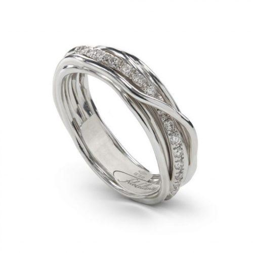 Anello Filodellavita AN7ABT. Anello della collezione Classic, 7 fili in argento 925 arricchito con Palladio o Platino e 16 diamanti bianchi 0.21ct.