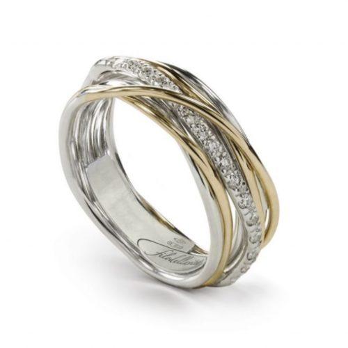 Anello Filodellavita AN7AGBT. Anello della collezione Classic, 7 fili in oro giallo 9kt, argento 925 arricchito con Palladio o Platino e 16 diamanti bianchi 0.18ct.