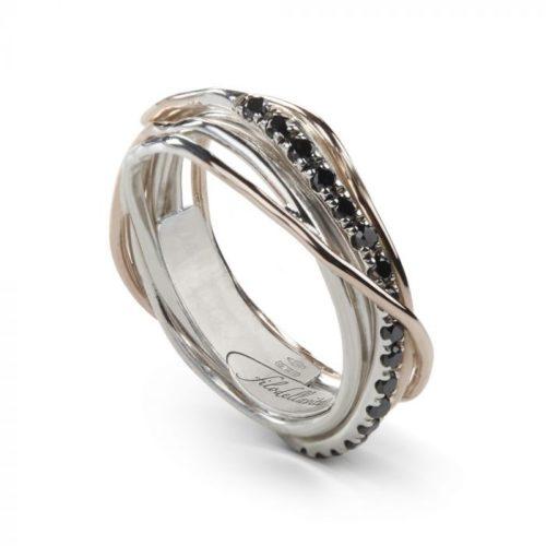 Anello Filodellavita AN7ARBN. Anello della collezione Classic, 7 fili in oro rosa 9kt, argento 925 arricchito con Palladio o Platino e 16 diamanti black 0.18ct.