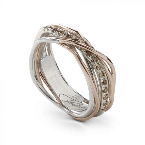 Anello Filodellavita AN7ARBR. Anello della collezione Classic, 7 fili in oro rosa 9kt, argento 925 arricchito con Palladio o Platino e 16 diamanti brown 0.18ct.