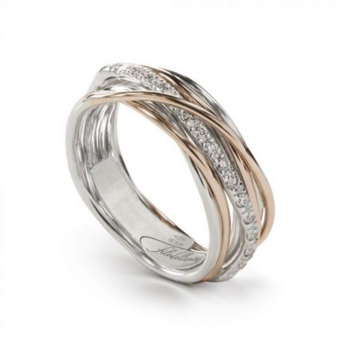 Anello Filodellavita AN7ARBT. Anello della collezione Classic, 7 fili in oro rosa 9kt, argento 925 arricchito con Palladio o Platino e 16 diamanti bianchi 0.18ct.