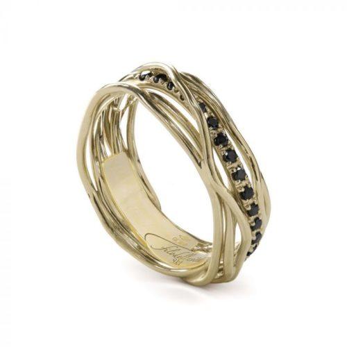 Anello Filodellavita AN7GBN. Anello della collezione Classic, 7 fili in oro giallo 9kt e 16 diamanti black 0.18ct.