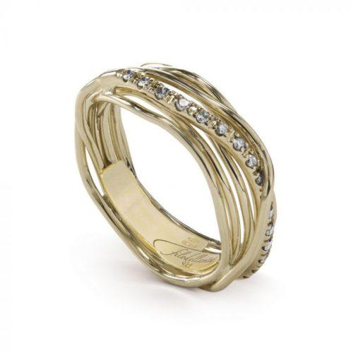 Anello Filodellavita AN7GBT. Anello della collezione Classic, 7 fili in oro giallo 9kt e 16 diamanti bianchi 0.18ct.