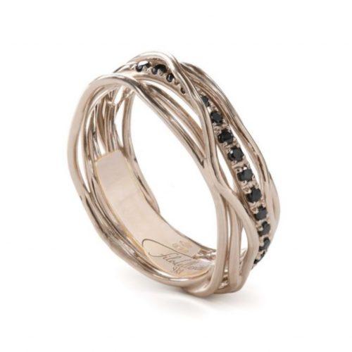 Anello Filodellavita AN7RBN. Anello della collezione Classic, 7 fili in oro rosa 9kt e 16 diamanti black 0.18ct.