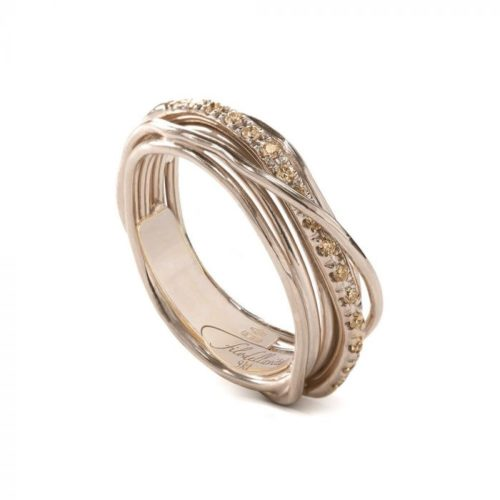 Anello Filodellavita AN7RBR. Anello della collezione Classic, 7 fili in oro rosa 9kt e 16 diamanti brown 0.18ct.