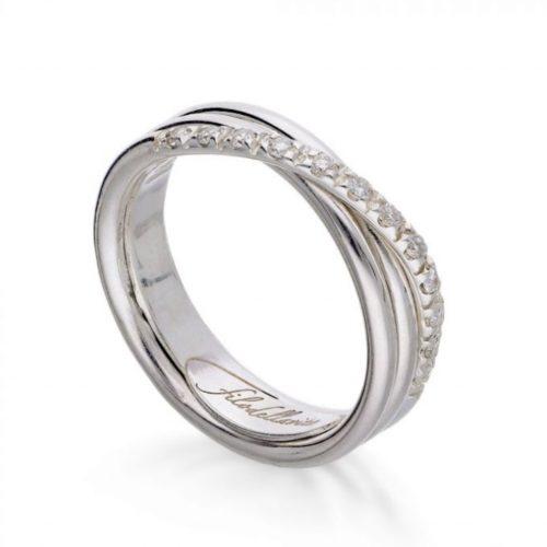 Anello Filodellavita AN8ABT. Anello della collezione Classic, 3 fili in argento 925 arricchito con Palladio o Platino e 12 diamanti bianchi 0.18ct.