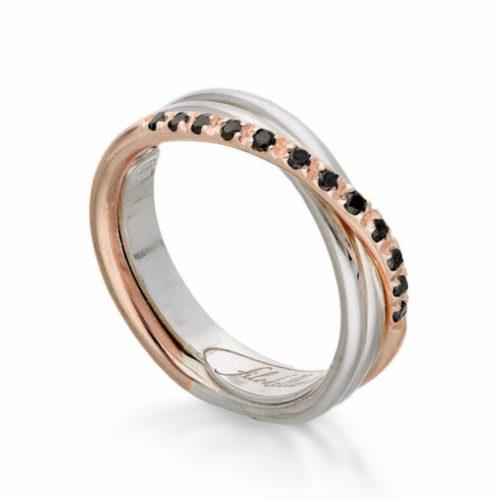 Anello Filodellavita AN8ARBN. Anello della collezione Classic, 3 fili in oro rosa 9kt, argento 925 arricchito con Palladio o Platino e 12 diamanti black 0.18ct.