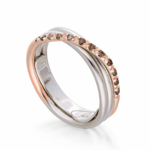 Anello Filodellavita AN8ARBR. Anello della collezione Classic, 3 fili in oro rosa 9kt, argento 925 arricchito con Palladio o Platino e 12 diamanti brown 0.18ct.