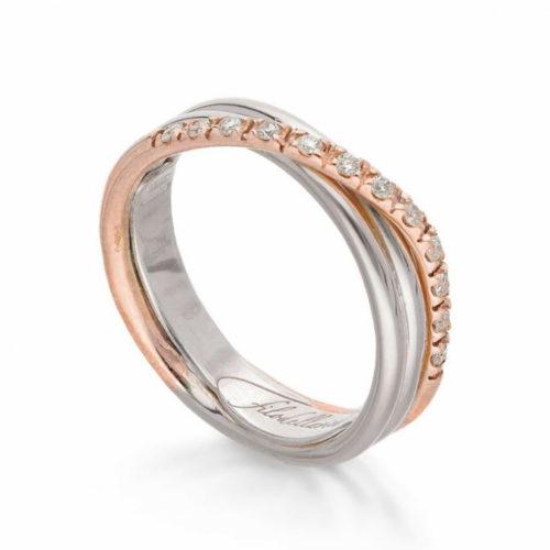 Anello Filodellavita AN8ARBT. Anello della collezione Classic, 3 fili in oro rosa 9kt, argento 925 arricchito con Palladio o Platino e 12 diamanti bianchi 0.18ct.