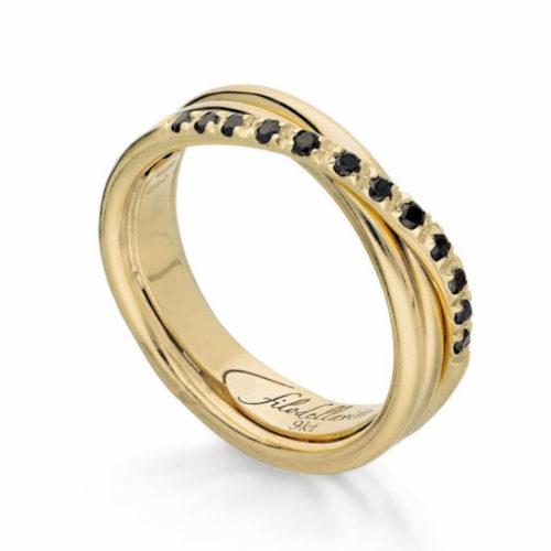 Anello Filodellavita AN8GBN. Anello della collezione Classic, 3 fili in oro giallo 9kt e 12 diamanti black 0.21ct.