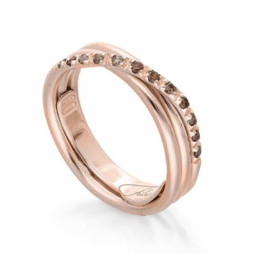 Anello Filodellavita AN8RBR. Anello della collezione Classic, 3 fili in oro rosa 9kt e 12 diamanti brown 0.21ct.