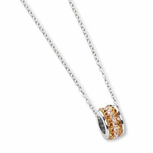 Collana Donna Mya Boccadamo VH/GR04 della collezione Mya Boccadamo. Collana realizzata in acciaio 316L e passante in pavè di strass bianchi e arancio. Misura regolabile 38/45 cm.