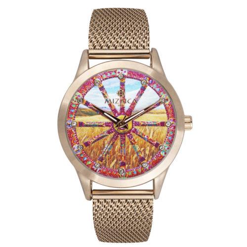 Orologio Donna Mizzica MC101 della collezione La ruota. L'essenza di Mizzica è la combinazione tra arte siciliana, design e creatività.