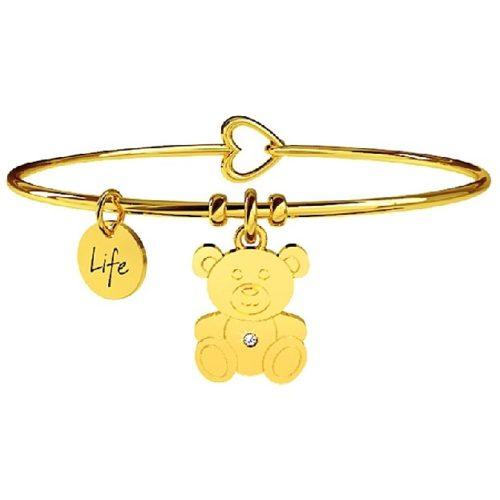 Bracciale Kidult Donna 231557 della collezione Life Colletion. Bracciale in acciaio pvd oro con ciondolo a forma di Orsacchiotto decorato con cristallo.