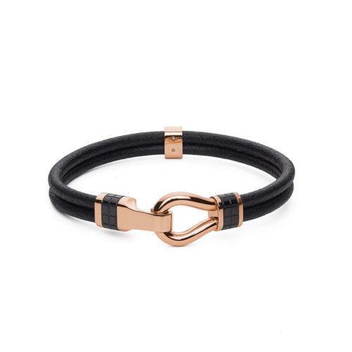 Bracciale Brosway uomo BIN15A. Bracciale della collezione Clint, in pelle nera con dettagli in acciaio pvd oro rosa. Misura bracciale: 195 mm.
