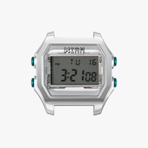 Orologio Digitale Iam IAM-119. Orologio con cassa large in policarbonato di colore grigio con pulsanti laterali azzurro.