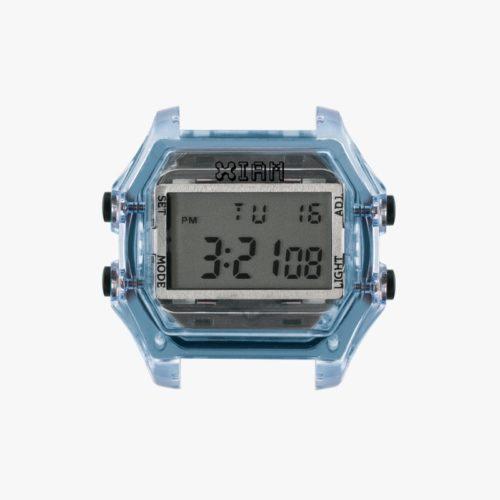 Orologio Digitale Iam IAM-116. Orologio con cassa large in policarbonato di colore azzurro chiaro con pulsanti laterali di colore nero.