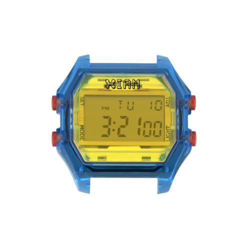 Orologio Digitale Iam IAM-106. Orologio con cassa large in policarbonato trasparente di colore blu con display giallo e pulsanti laterali rossi.