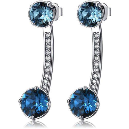 Orecchini Brosway donna BFF23. Orecchini della collezione Affinity in ottone rodiato con cristalli Swarovski® Elements di colore azzurro e blu e zirconi bianchi. Misura diametro 3 cm.