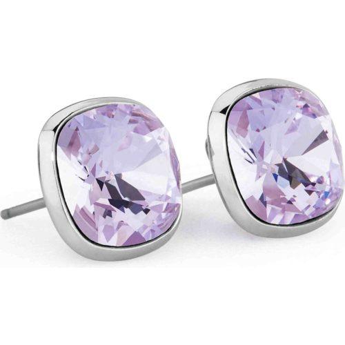 Orecchini Brosway donna BRT26. Orecchini della collezione E-tring, in acciaio inossidabile, con cristalli violet Swarovski© Elements. Chiusura a farfalla.