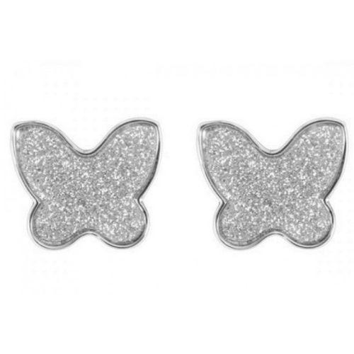 Orecchini Donna Mya Boccadamo GP/OR03 della collezione Boccadamo Mya. Orecchini realizzati in bronzo di colore silver a forma di farfalla glitterata. La chiusura di questo modello è a farfallina. Questo prodotto verrà spedito con scatola originale Mya Boccadamo.