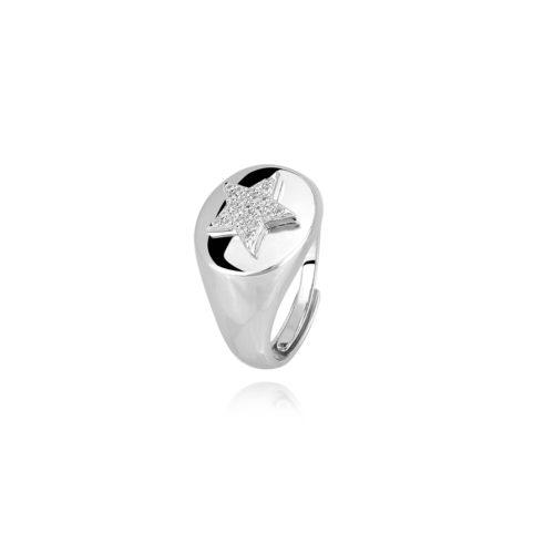 Anello donna Mabina 523154. Anello chevalier in argento 925 con stella e pavé di zirconi bianchi. Misura regolabile, dalla 11 alla 19