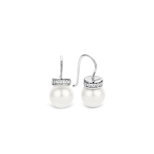 Orecchini Ti Sento 7528PW. Orecchini in argento sterling rodiato con perla bianca incastonata in una montatura con zirconi bianchi. Diametro 10 mm.