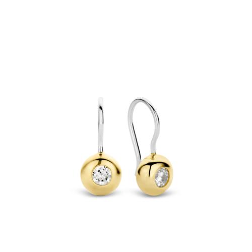 Orecchini Ti Sento 7757ZY. Orecchini in argento sterling rodiato con zircone incastonato in una struttura a forma di bolla placcata in oro giallo. Dimensioni gioiello: lunghezza 1,9 cm, larghezza 0,8 cm.
