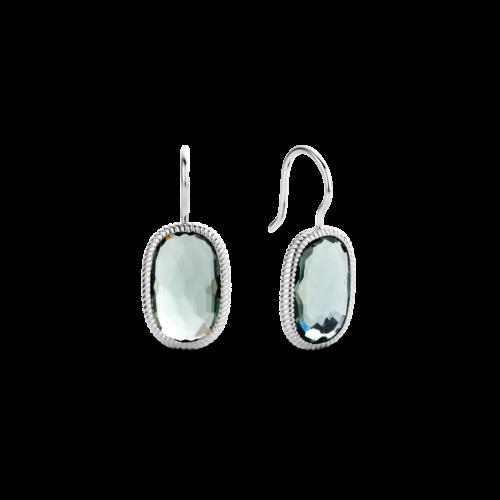 Orecchini Ti Sento 7788GG. Questi orecchini in argento sterling rodiato con le sue pietre grigio-verde rettangolari emanano un'intensa energia ed una straordinaria femminilità. Dimensioni gioiello: lunghezza 2,65 cm, larghezza 1,0 cm.