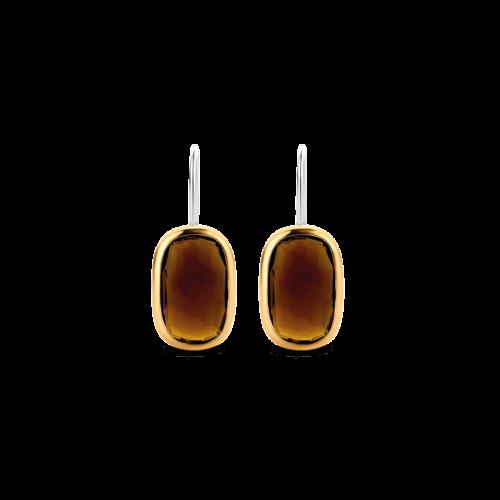 Orecchini Ti Sento 7788TB. Questi orecchini in argento sterling rodiato con le sue pietre marroni rettangolari emanano un'intensa energia ed una straordinaria femminilità. Dimensioni gioiello: lunghezza 2,65 cm, larghezza 1,0 cm.