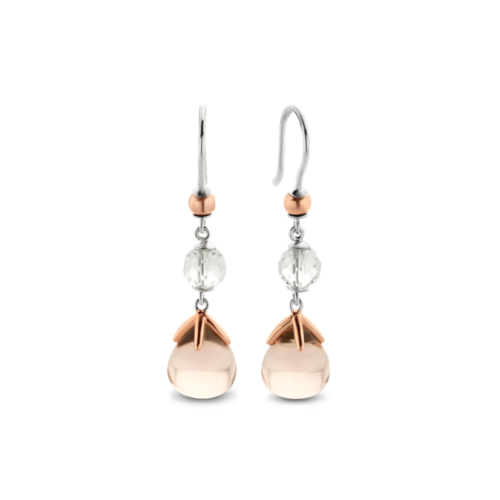 Orecchini Ti Sento 7810NU. Questi orecchini in argento sterling rodiato con pietre rosa tenue e dettagli in oro rosa sono un tocco di classe molto originale. Dimensioni gioiello: lunghezza: 3,2 cm, larghezza 1,0 cm.