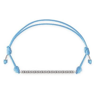 Bracciale Kulto925 Donna KTC925-002. Bracciale tennis in argento 925 con zirconi bianchi e cordino di colore blu. La misura di questo bracciale è regolabile.