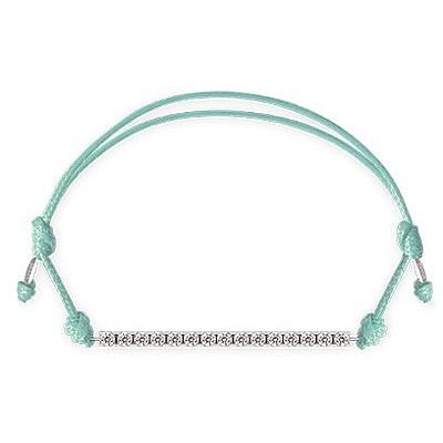 Bracciale Kulto925 Donna KTC925-003. Bracciale tennis in argento 925 con zirconi bianchi e cordino di colore verde tiffany. La misura di questo bracciale è regolabile.