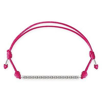 Bracciale Kulto925 Donna KTC925-005. Bracciale tennis in argento 925 con zirconi bianchi e cordino di colore fucsia. La misura di questo bracciale è regolabile.